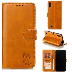 Embossing Happy Cat Leather Wallet Case for Samsung Galaxy M10 - Yellow