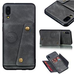 Retro Multifunction Card Slots Stand Leather Coated Phone Back Cover for Samsung Galaxy M10 - Gray