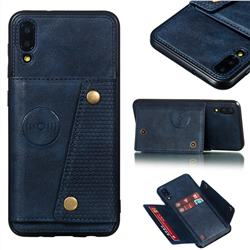 Retro Multifunction Card Slots Stand Leather Coated Phone Back Cover for Samsung Galaxy M10 - Blue