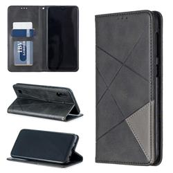 Prismatic Slim Magnetic Sucking Stitching Wallet Flip Cover for Samsung Galaxy M10 - Black