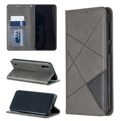 Prismatic Slim Magnetic Sucking Stitching Wallet Flip Cover for Samsung Galaxy M10 - Gray