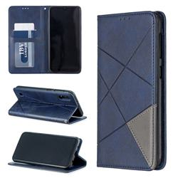 Prismatic Slim Magnetic Sucking Stitching Wallet Flip Cover for Samsung Galaxy M10 - Blue