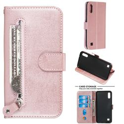 Retro Luxury Zipper Leather Phone Wallet Case for Samsung Galaxy M10 - Pink