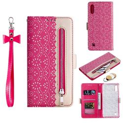 Luxury Lace Zipper Stitching Leather Phone Wallet Case for Samsung Galaxy M10 - Rose