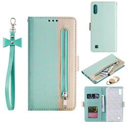 Luxury Lace Zipper Stitching Leather Phone Wallet Case for Samsung Galaxy M10 - Green