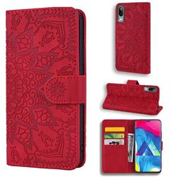 Retro Embossing Mandala Flower Leather Wallet Case for Samsung Galaxy M10 - Red