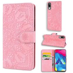 Retro Embossing Mandala Flower Leather Wallet Case for Samsung Galaxy M10 - Pink