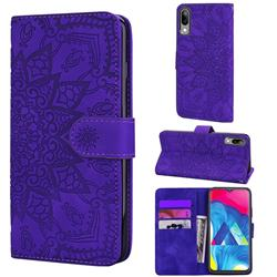 Retro Embossing Mandala Flower Leather Wallet Case for Samsung Galaxy M10 - Purple