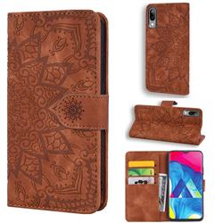 Retro Embossing Mandala Flower Leather Wallet Case for Samsung Galaxy M10 - Brown