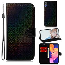 Laser Circle Shining Leather Wallet Phone Case for Samsung Galaxy M10 - Black