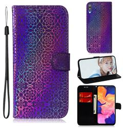 Laser Circle Shining Leather Wallet Phone Case for Samsung Galaxy M10 - Purple