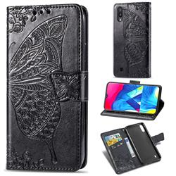 Embossing Mandala Flower Butterfly Leather Wallet Case for Samsung Galaxy M10 - Black
