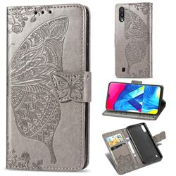 Embossing Mandala Flower Butterfly Leather Wallet Case for Samsung Galaxy M10 - Gray