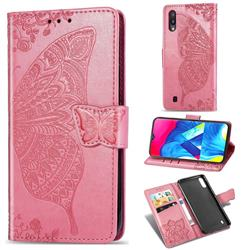Embossing Mandala Flower Butterfly Leather Wallet Case for Samsung Galaxy M10 - Pink