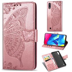 Embossing Mandala Flower Butterfly Leather Wallet Case for Samsung Galaxy M10 - Rose Gold
