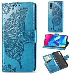 Embossing Mandala Flower Butterfly Leather Wallet Case for Samsung Galaxy M10 - Blue