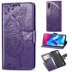 Embossing Mandala Flower Butterfly Leather Wallet Case for Samsung Galaxy M10 - Dark Purple