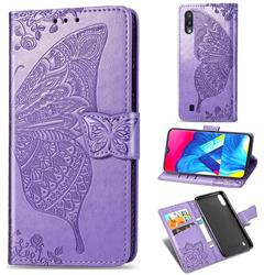 Embossing Mandala Flower Butterfly Leather Wallet Case for Samsung Galaxy M10 - Light Purple