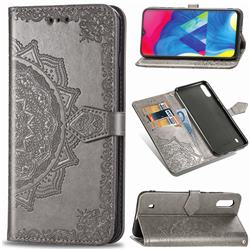 Embossing Imprint Mandala Flower Leather Wallet Case for Samsung Galaxy M10 - Gray