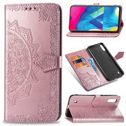 Embossing Imprint Mandala Flower Leather Wallet Case for Samsung Galaxy M10 - Rose Gold