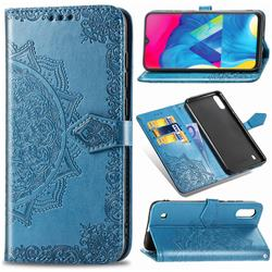 Embossing Imprint Mandala Flower Leather Wallet Case for Samsung Galaxy M10 - Blue