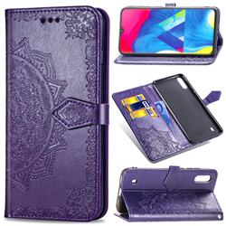 Embossing Imprint Mandala Flower Leather Wallet Case for Samsung Galaxy M10 - Purple