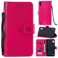 Embossing Cherry Blossom Cat Leather Wallet Case for Samsung Galaxy M10 - Rose