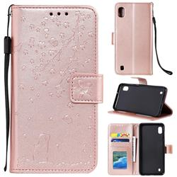 Embossing Cherry Blossom Cat Leather Wallet Case for Samsung Galaxy M10 - Rose Gold