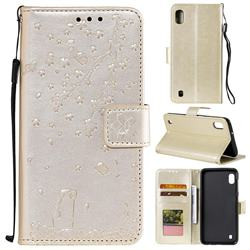 Embossing Cherry Blossom Cat Leather Wallet Case for Samsung Galaxy M10 - Golden