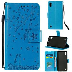 Embossing Cherry Blossom Cat Leather Wallet Case for Samsung Galaxy M10 - Blue