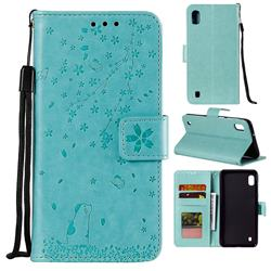 Embossing Cherry Blossom Cat Leather Wallet Case for Samsung Galaxy M10 - Green