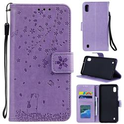 Embossing Cherry Blossom Cat Leather Wallet Case for Samsung Galaxy M10 - Purple