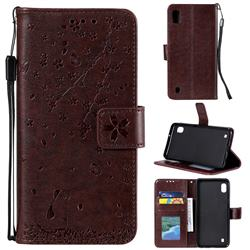Embossing Cherry Blossom Cat Leather Wallet Case for Samsung Galaxy M10 - Brown