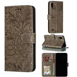 Intricate Embossing Lace Jasmine Flower Leather Wallet Case for Samsung Galaxy M10 - Gray