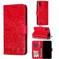 Intricate Embossing Lace Jasmine Flower Leather Wallet Case for Samsung Galaxy M10 - Red