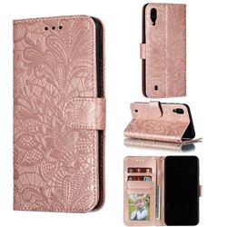 Intricate Embossing Lace Jasmine Flower Leather Wallet Case for Samsung Galaxy M10 - Rose Gold