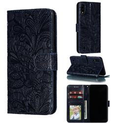 Intricate Embossing Lace Jasmine Flower Leather Wallet Case for Samsung Galaxy M10 - Dark Blue