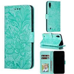 Intricate Embossing Lace Jasmine Flower Leather Wallet Case for Samsung Galaxy M10 - Green