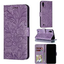 Intricate Embossing Lace Jasmine Flower Leather Wallet Case for Samsung Galaxy M10 - Purple