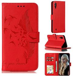 Intricate Embossing Lychee Feather Bird Leather Wallet Case for Samsung Galaxy M10 - Red