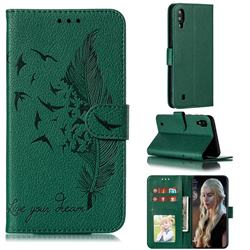 Intricate Embossing Lychee Feather Bird Leather Wallet Case for Samsung Galaxy M10 - Green