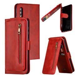Multifunction 9 Cards Leather Zipper Wallet Phone Case for Samsung Galaxy M10 - Red