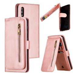 Multifunction 9 Cards Leather Zipper Wallet Phone Case for Samsung Galaxy M10 - Rose Gold