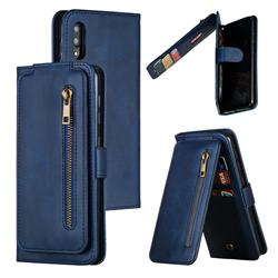 Multifunction 9 Cards Leather Zipper Wallet Phone Case for Samsung Galaxy M10 - Blue