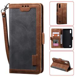 Luxury Retro Stitching Leather Wallet Phone Case for Samsung Galaxy M10 - Gray