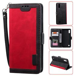 Luxury Retro Stitching Leather Wallet Phone Case for Samsung Galaxy M10 - Deep Red