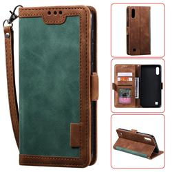 Luxury Retro Stitching Leather Wallet Phone Case for Samsung Galaxy M10 - Dark Green