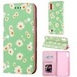 Ultra Slim Daisy Sparkle Glitter Powder Magnetic Leather Wallet Case for Samsung Galaxy M10 - Green