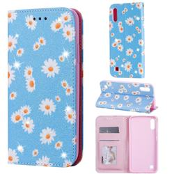 Ultra Slim Daisy Sparkle Glitter Powder Magnetic Leather Wallet Case for Samsung Galaxy M10 - Blue