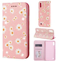 Ultra Slim Daisy Sparkle Glitter Powder Magnetic Leather Wallet Case for Samsung Galaxy M10 - Pink